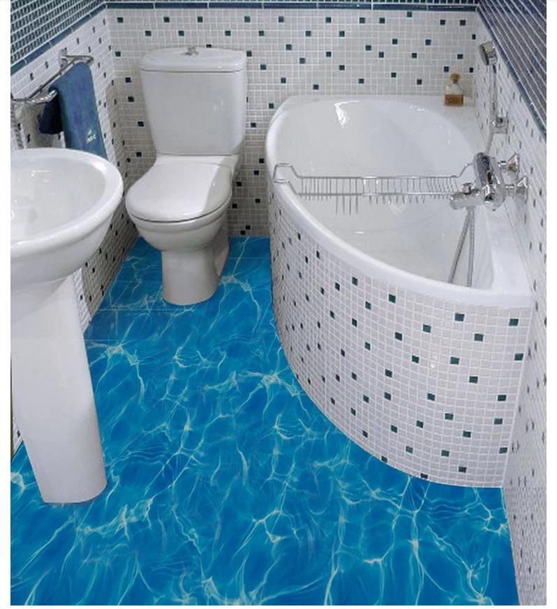 Оптовая продажа-3d ПВХ полы водонепроницаемый самоклеящиеся 3d пользовательские настенные фрески обои 3D морской воды пульсация ванная комната пол стикер стены