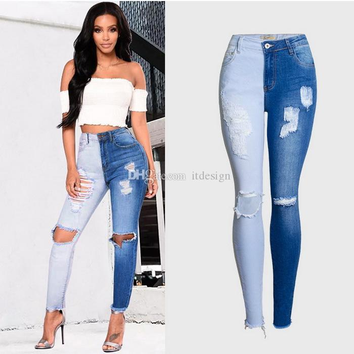b7e76be91 2019 Two Color Panelled Denim Jeans Women Damage Stretch Skinny Fit Cowboy Pants  Lady Trousers From Itdesign, $29.15 | DHgate.Com