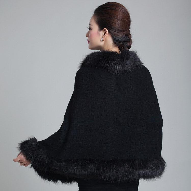 2016 Inverno delle donne imitazione di alta qualità scialle di lana lavorato a maglia cappotto di visone volpe collo di pelliccia poncho scialle imitazione all'ingrosso vendita al dettaglio