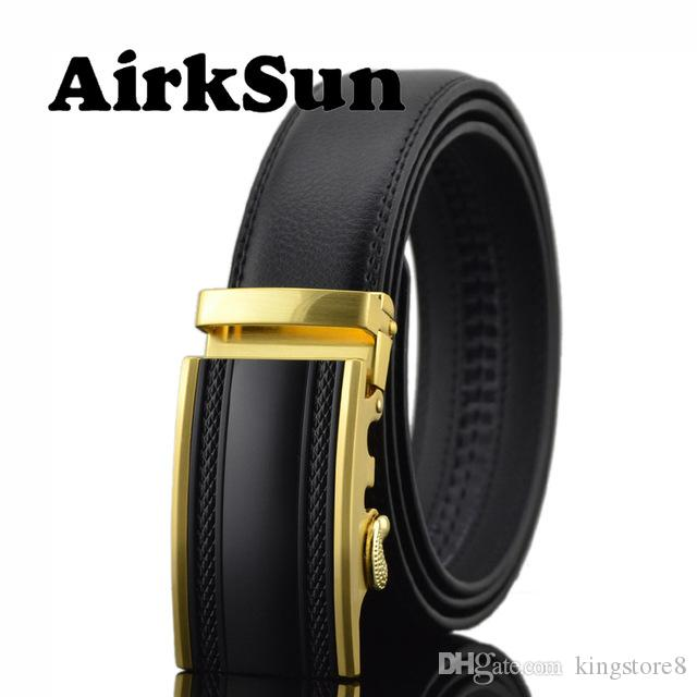 AirkSun 2018 Fashion 140cm Mens Automatic Buckle Designer Belts For Luxury Genuine  Leather Big Size Belt Jeans Wide Men Cinturon Real Leather Belt Large ... be573e17b92