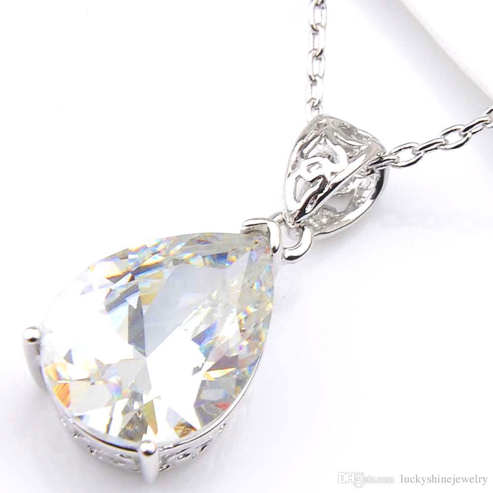 Luckyshine Pendientes de moda para mujer Colgantes Conjuntos Topacio blanco Cristal CZ 925 Collares de plata Colgantes Pendientes Conjuntos de joyas de boda