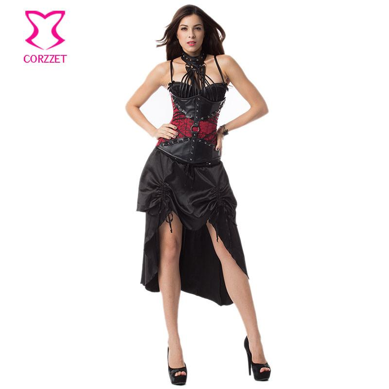 4d1d8eace29 2019 Red   Black Leather Halter Gothic Underbust Corset Sexy Bustier Dress  Burlesque Costumes Victorian Steampunk Clothing For Women From Vikey10