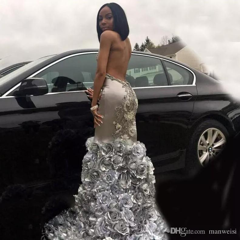 2018 Sexy Silver Black Girls Mermaid Prom Dresses Lace Applique Sleeveless Backless Evening Dress With 3D Rose Flowers Pageant Gowns