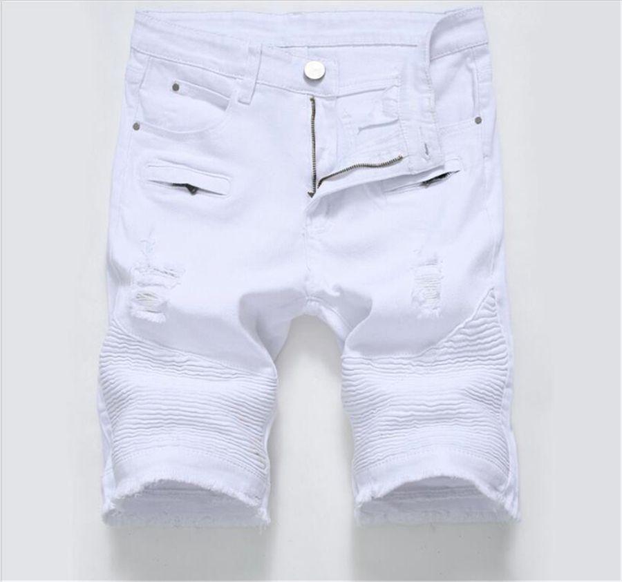 Blanco Para Summer Jeans Moda Hombres Zipper Masculino Ripped 2018 Bermudas Denim Negro Biker Hombre Stretch Shorts DW2IHEY9