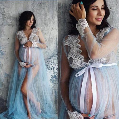 3053cdeaf5d 2019 New Summer Lace Maternity Dress Women Pregnant Maternity Gown  Photography Props Costume Pregnancy Lace Long Maxi Dress From Laurul