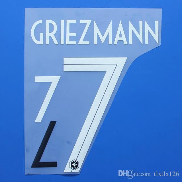 2018 DÜNYA KUPASI Frence Milli takımı GRIEZMANN futbol Isim Özelleştirme İsim A-Z Numarası 0-9 Baskı Futbol Oyuncu font nameset yama