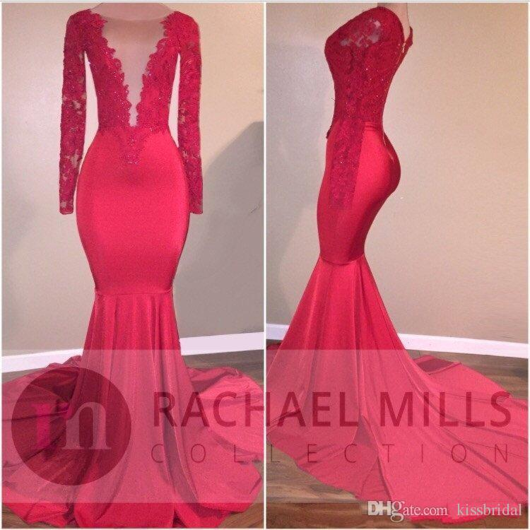 African 2K17 Prom Dresses Lace Long Sleeves Mermaid sexy Formal Evening Gowns Red Satin Girls Party Gowns With Deep V Neck