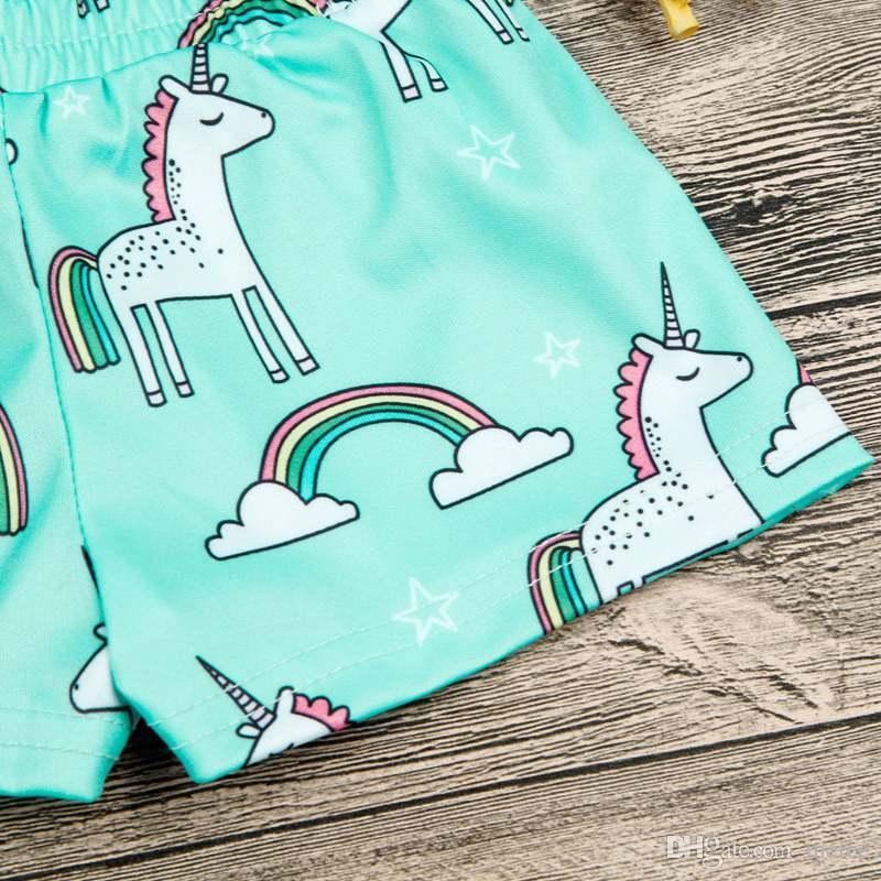 INS Novo Verão Crianças Unicórnio Impressão Completa Shorts Bebê Elástico Na Cintura azul calça Calções Meninas Calças Do Bebê Dos Desenhos Animados Meninas Desgaste roupas de Bebê 0-4 T