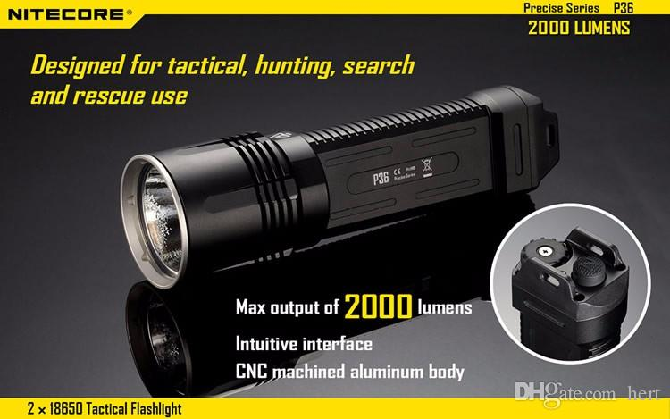 NITECORE P36 CREE MT-G2 LED Flashlight 2000Lm 2x18650 torch Outdoor Camping Hunting Searching Rescue Portable Torchlight