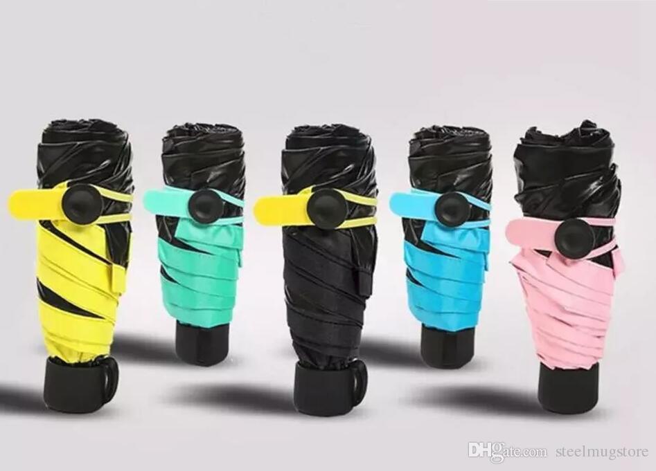 Qualidade superior! Mini Bolso Guarda-chuva Compacto À Prova de Vento Dobrável Parasol de Viagem Super Leve Portátil Chuva de Sol Guarda-chuvas 5 Cores