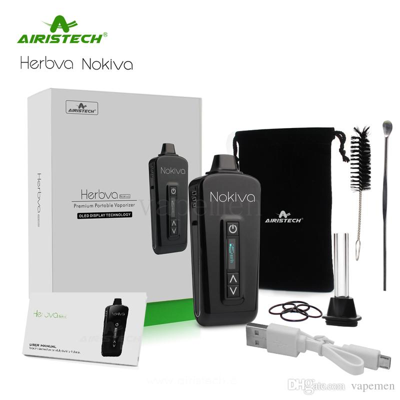 Original Airis Herbva Nokiva Herbal Vaporizer Kits Ceramic Heating Chamber E Cigarettes With OLED Touch Screen TC dry herb vape