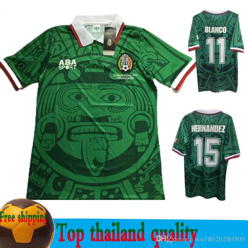 2019 Size S 2xl 1998 Mexico World Cup Classic Vintage Retro Jersey Campos  Hernandez BLANCO Home Green Mexico Football Shirt Camiseta Futbol From ... 36a13ffc0