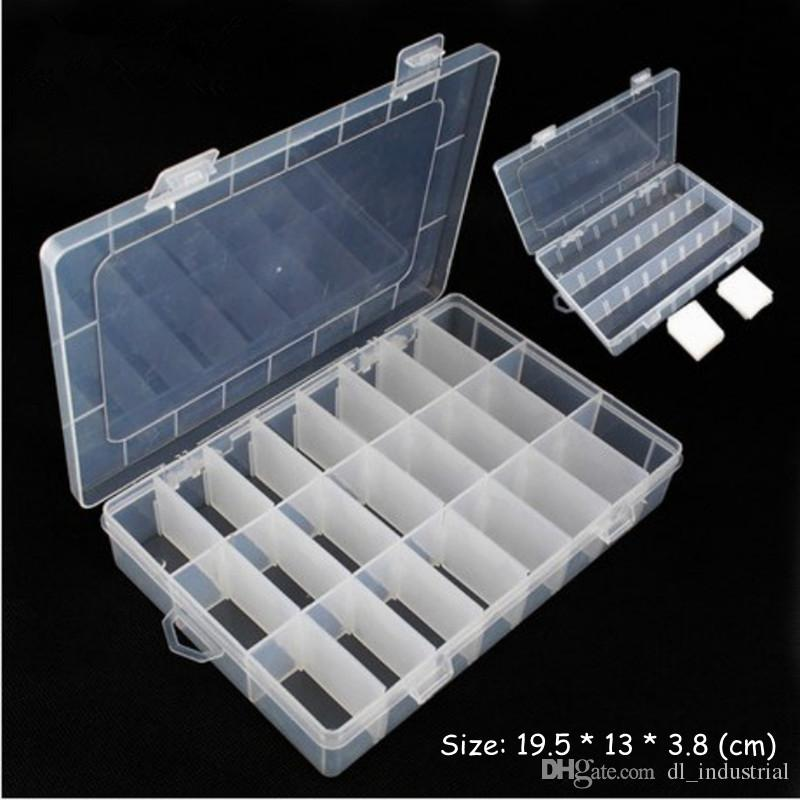 Adjustable Sewing box 24 Grids Transparent case Jewelry Beads buttons Organizer Small sewing hand knitting tools storage box DL_SWT018