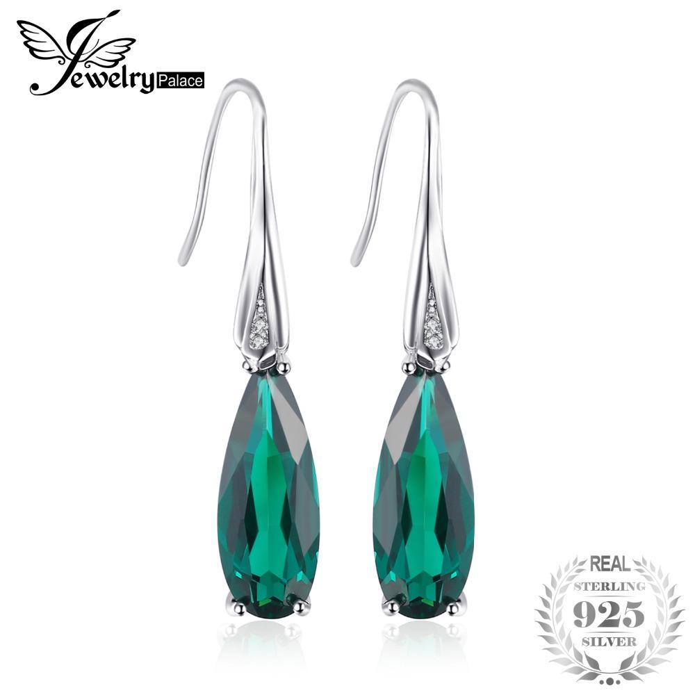 Natural Zambian Emerald Earrings 925 Sterling Silver Dangle Drop Women Jewelry Engagement & Wedding Bridal & Wedding Party Jewelry