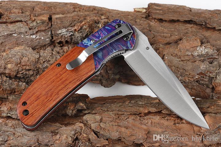 Nuovo DA138 Assisted piegante aperta veloce della lama 440C raso della lama della maniglia di legno Liner Lock con la scatola originale di vendita al dettaglio