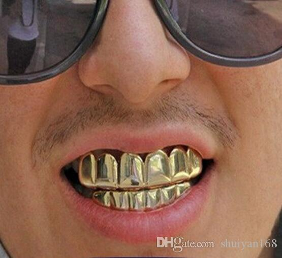 Hip Hop Personality Fangs Teeth Gold Silver Rose Gold Teeth Grillz Gold False Teeth Sets Vampire Grills For women men Dental Grills Jewelry
