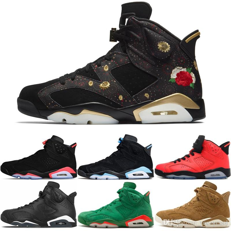 12fe69fc1135de 2019 6 Basketball Shoes CNY Black Cat Green Suede Gatorade UNC Black  Infrared Sports Blue Toro Gatorade Classic 6S Men Athletic Sports Sneakers  From ...