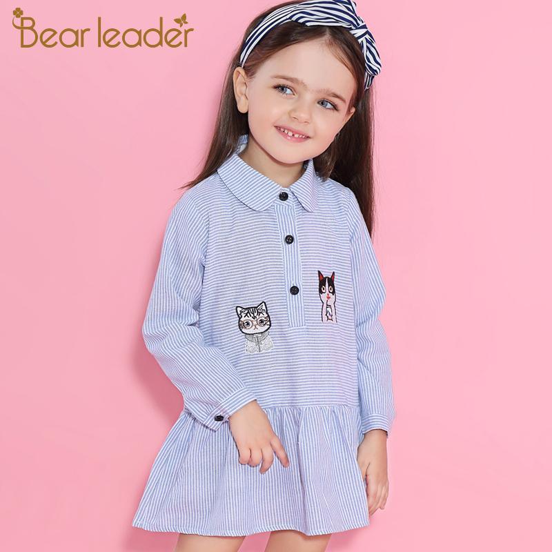 Bear Leader Girls Dress 2017New Brand Print Princess Dress Autumn Style Petal Sleeve Flowers Print Design For Children Clothes