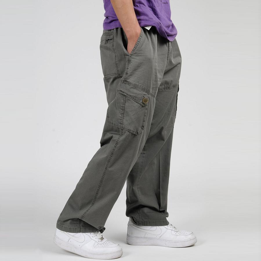 74a70734a6f292 6XL Plus Size Men's Cargo Pants Casual Loose Men Baggy Pant Multi ...