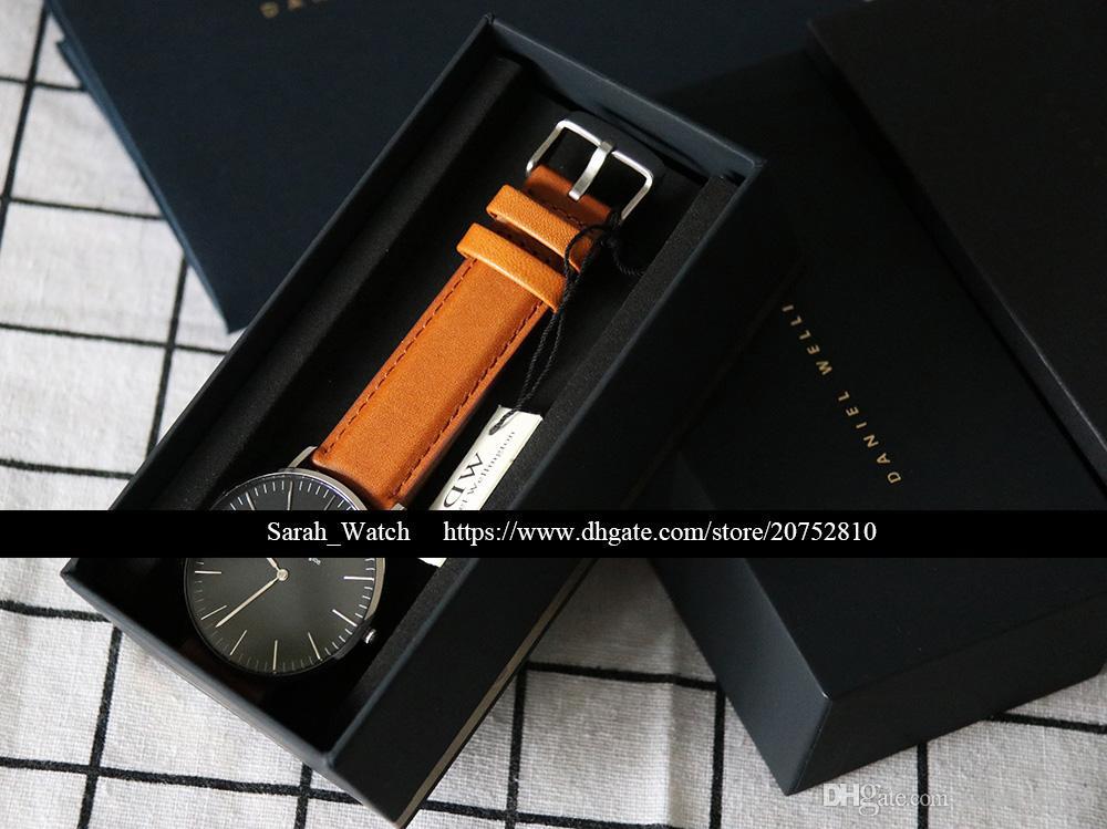 Beste Qualität 36mm 40mm Männer Damenuhr Weiß / Schwarz GESICHT Leder / Nylon / Metall Armbanduhr In der gleichen Verbindung
