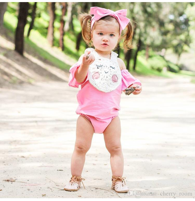 INS Girls Princess Romper New 2018 Summer Fly Sleeve Infant Bodysuit Cute Strapless Toddler Onesie Baby Jumpsuit C2880