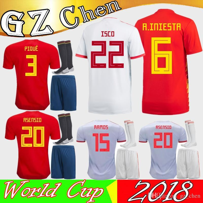 ec0f55f104c 2019 2018 Spain Kit Soccer Jersey 1819 Spain ISCO Home Away Jersey Kits  1819 MORATA ASENSIO ISCO PIQUE A.INIESTA RAMOS Football Uniforms Kits From  Gz chen
