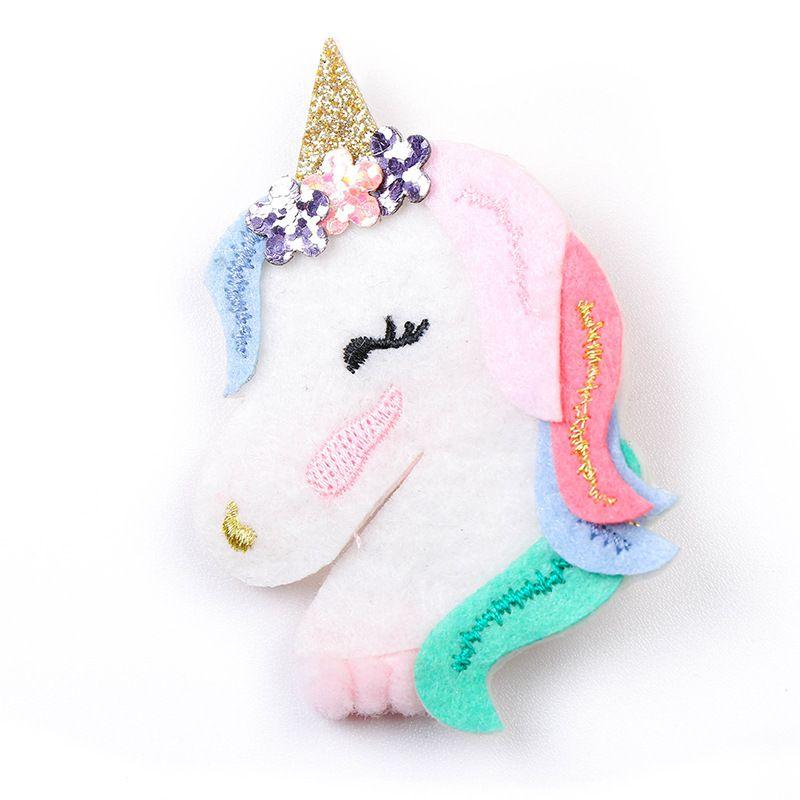 Großhandel Boutique 10 stücke Mode Niedlichen Glitter Floral Unicorn Pferd Haarnadeln Kawaii Solid Filz Regenbogen Haarspangen Prinzessin Headware