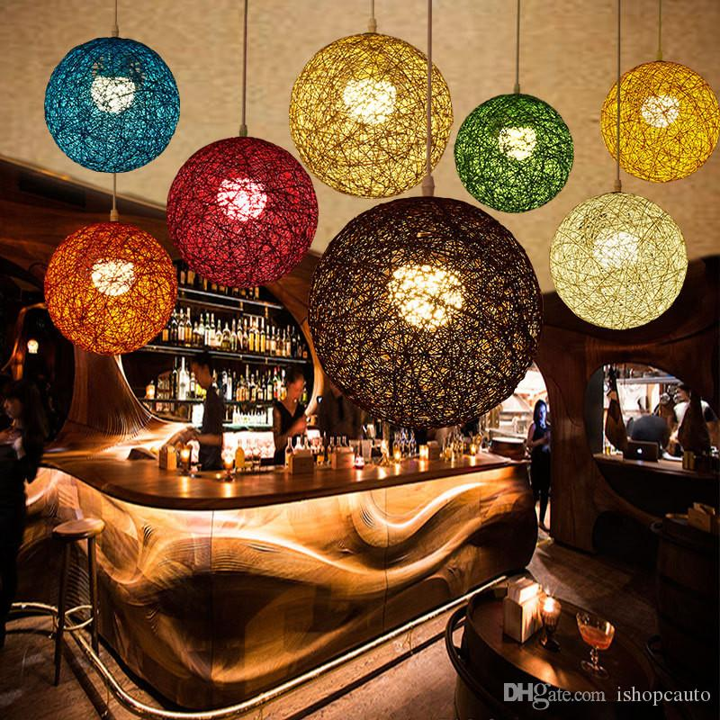 Minimalist rattan pendant lamp colorful ball hanging light for bar cafe clothing store retro rural rope wicker light fixture