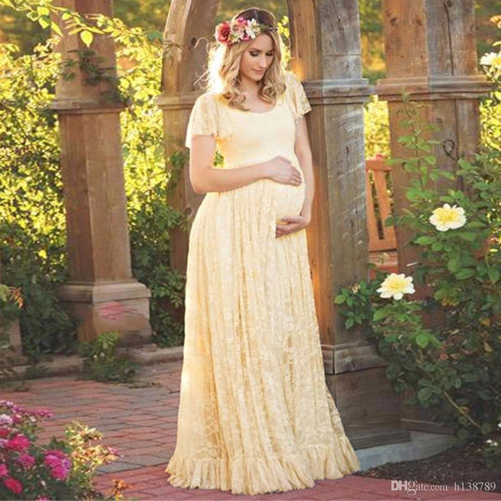 Women Maternity Dresses Photography Props Lace Pregnancy Clothes Maternity Dresses For Pregnant Photo Shoot Cloth Plus