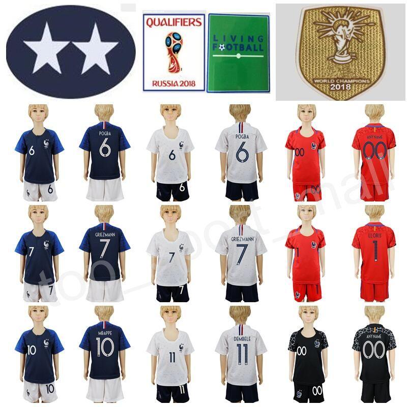 ee73d266363 2019 2 Stars Youth Soccer Jersey Kids Set 7 GRIEZMANN 6 POGBA 10 MBAPPE  GIROUD Lloris Football Shirt Kits Short 2018 World Cup Champions From  Top sport mall ...