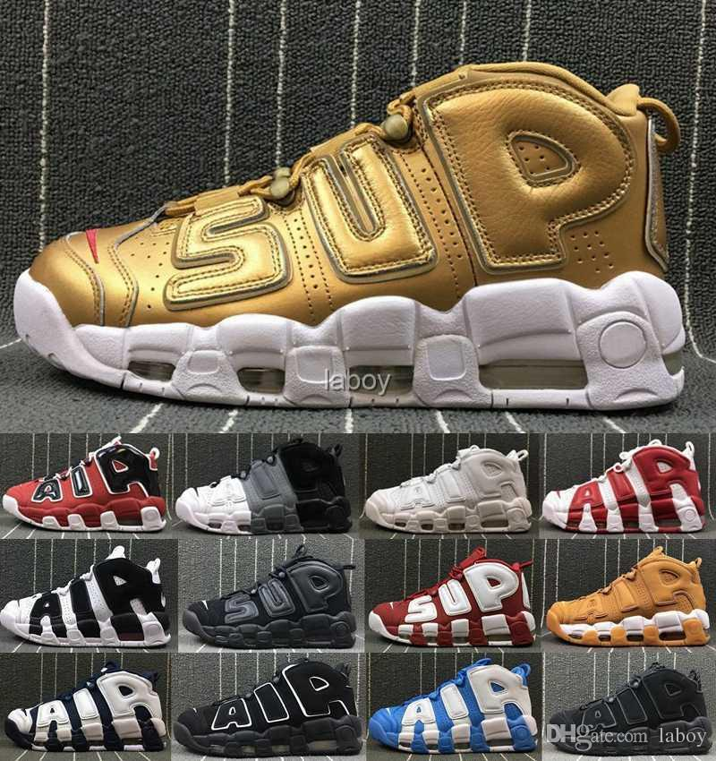 5db1cce12582 2018 Air More Uptempo Mens Basketball Shoes Sup Designer Men Scottie Pippen  PE Triple White Gold Athletic Sports Sneakers Chausseures Sneakers For Men  Shoes ...
