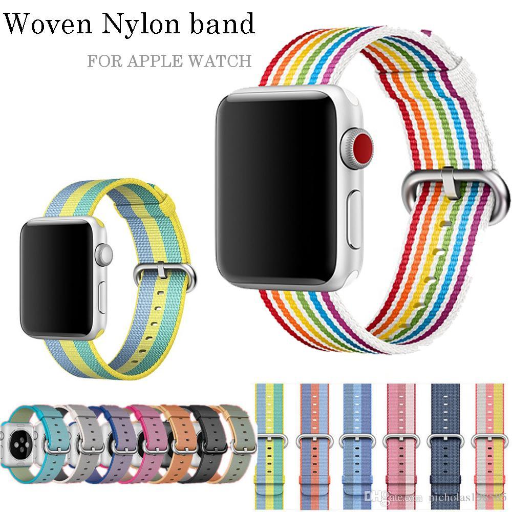 16d53e99c75 2018 pulseira de nylon tecido esporte para apple watch banda série 3 2 1  pulseira durável pulseira confortável cinto tecido como sensação de orgulho  edição