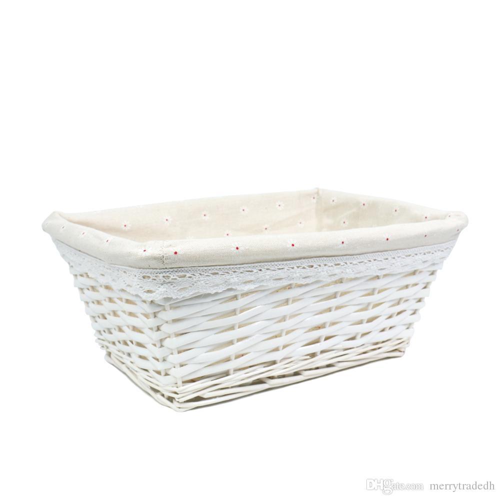 Storage Containers.Home Storage Bins For Toys Laundry Clothing Sundries  NeateningWhite Handmade Woven Wicker Storage Basket Shelf Baskets Home Storage  Bins ...