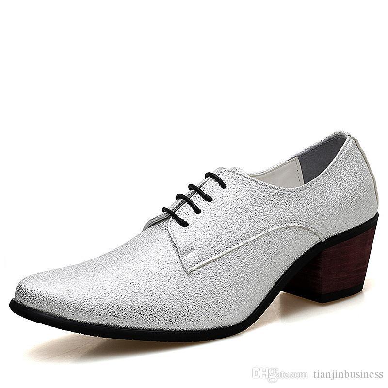 Compre Zapatos Oxford De Vestir De Los Hombres Con Cordones De Los Tacones  Altos De Lujo Zapatos De Novia De Oro De Plata Zapatos Bling Glitter Party  Prom A ... 75cc7e10917