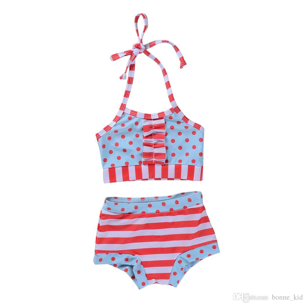 45a0dde0e9 2019 Summer Cute Two Pieces Swimsuit Kids Baby Girls Dots Striped Swimswear  Children Split Bathing Suit Girls Bikini Lovely Children Bikinis 1 6Y From  ...
