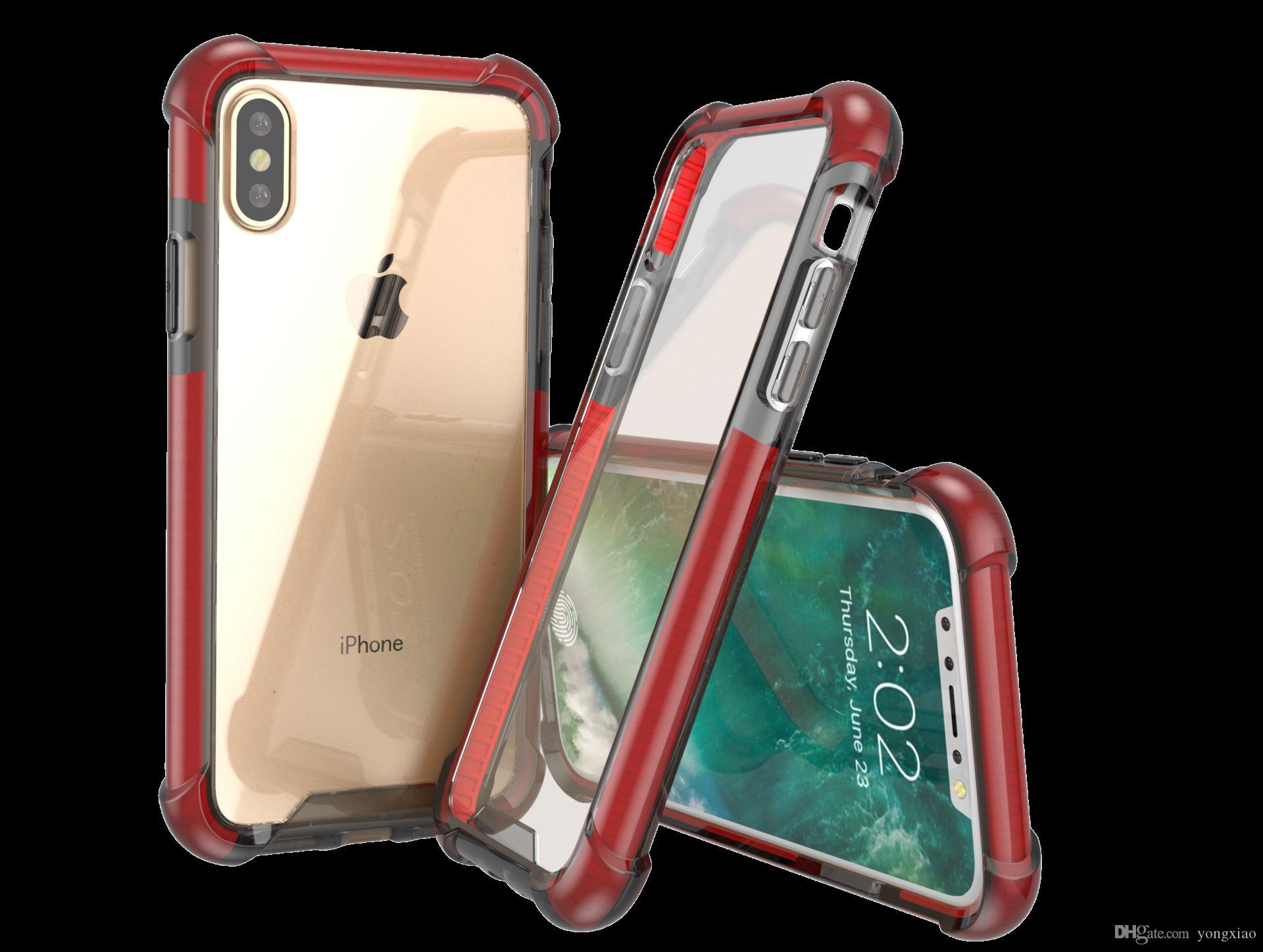 reputable site 373b9 a3a51 Evo Color Bumper Transparent Clear Acrylic Impact Shockproof impact  Protective Case Gasbag Corners Cover for iPhone XR XS Max 6 7 8