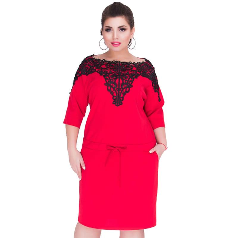 Anself Women Elegant Plus Size Dress Lace Splice Drawstring Three ...