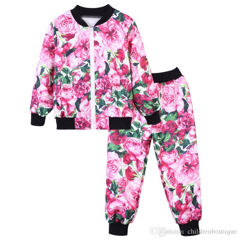 Kids Clothes Newest Spring Autumn Rose Printed Jacket+Pants Outfits 2Pcs Clothes Sets Kids Children Sport Suit Infant Clothing Set 7Colors