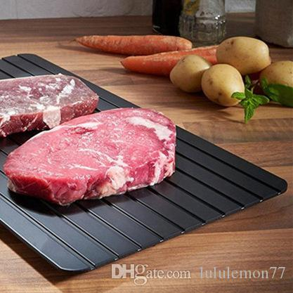 Fedex Shipping Black Fast Defrosting Tray Thawing Plate Defrost Meat Frozen Tray Defrost Beaf Frozen Food Safety Mat Thaw Tray 3 Sizes