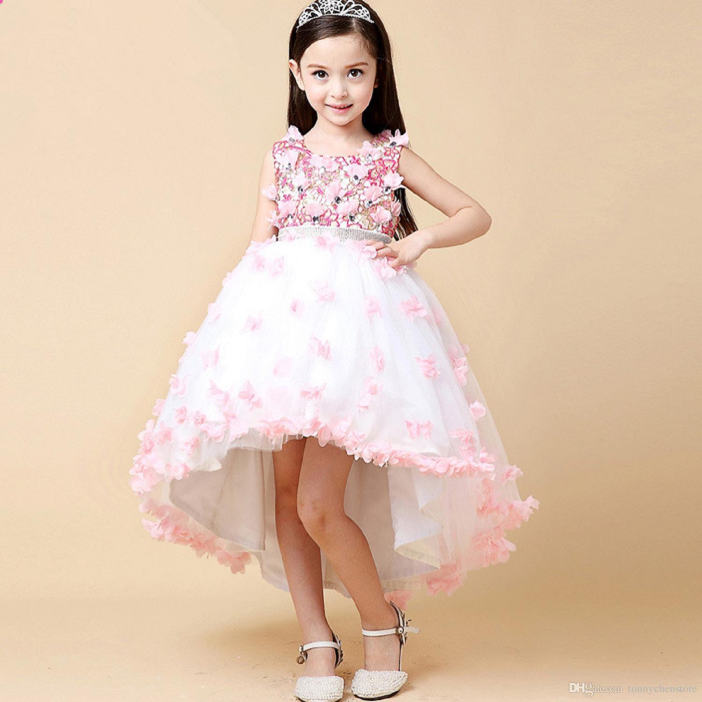 0a348caf911d5 Prenses Çiçek Kız Elbise Düğün Parti Için Yüksek Kalite Çocuklar Yay ...