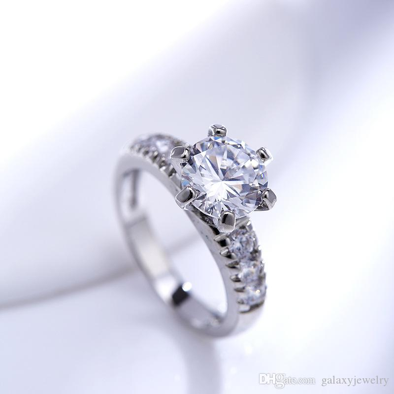 YHAMNI Fine Jewelry Genuine 925 Solid Silver Ring Set Natural White Cubic Zirconia Diamond Band CZ Engagemen Rings for Women Girls LR68