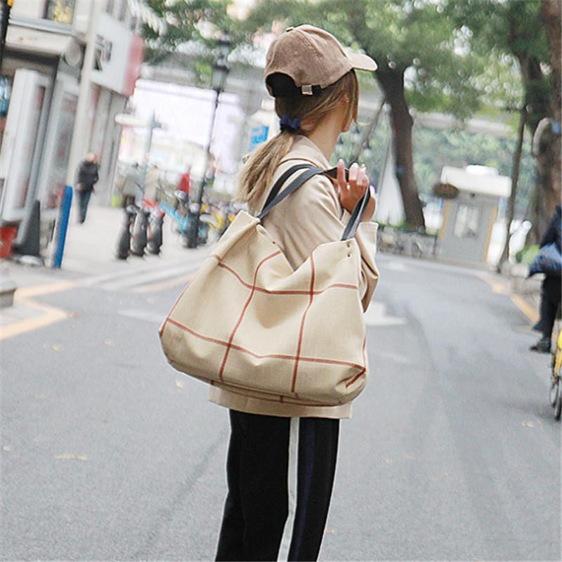 43c016661adff Women Canvas Totes New Fashion Handbags Female Shoulder Bags Canvas Check Bags  Large Capacity Casual Shopping Package Portable Handbags Black Bags  Crossbody ...