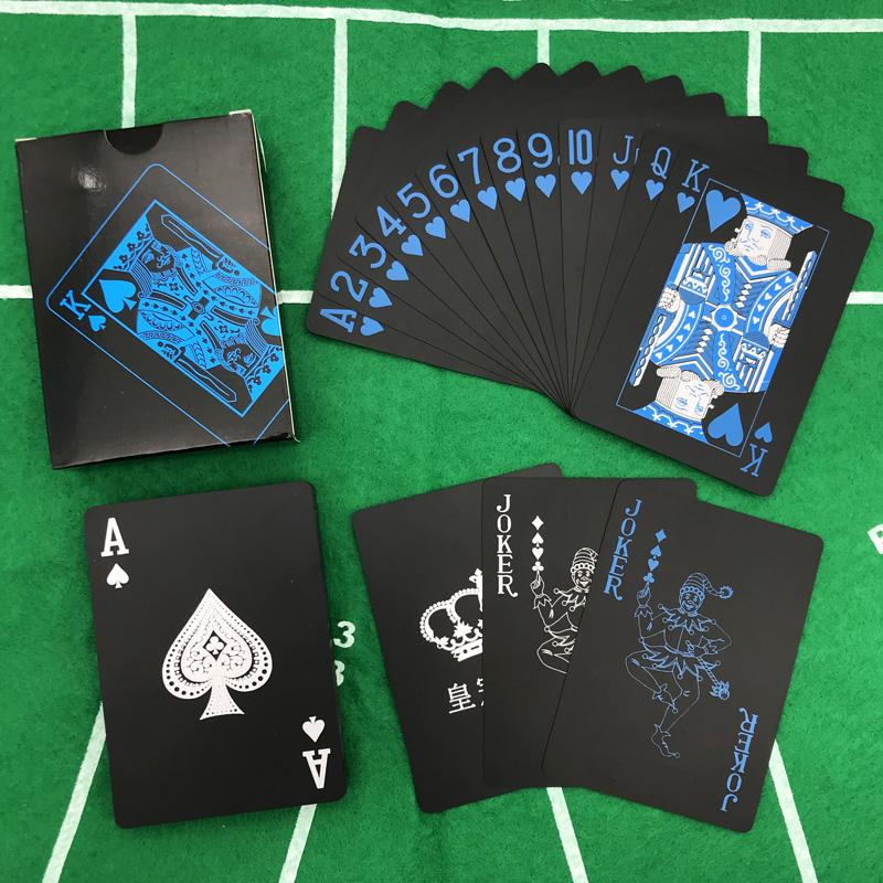 New High Quality Red&Blue Smooth Waterproof Black Plastic Playing Cards Texas Hold'em Poker Cards Baccarat Board Game