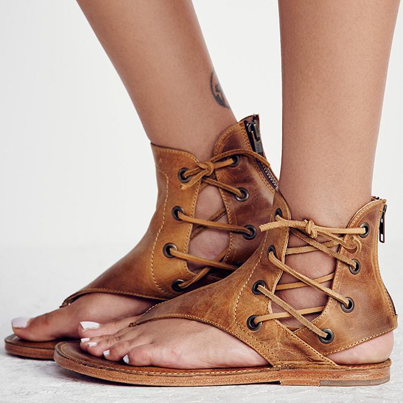 0737ad14a78 Compre Sandalias De Las Mujeres De La Vendimia Del Verano Zapatos De Mujer  Sandalias De Gladiador Sandalias Para Mujer Zapatos De Playa De Cuero  Sandalias ...