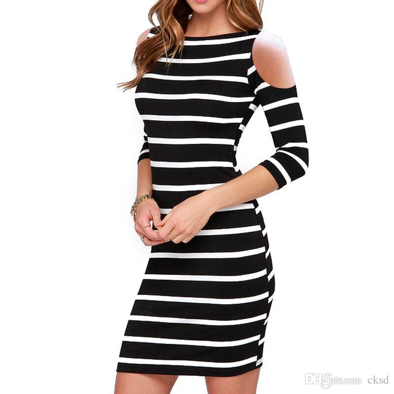 68cfe6d851 Slit Sleeve Dress Summer Women Round Neck Fashion Black And White ...