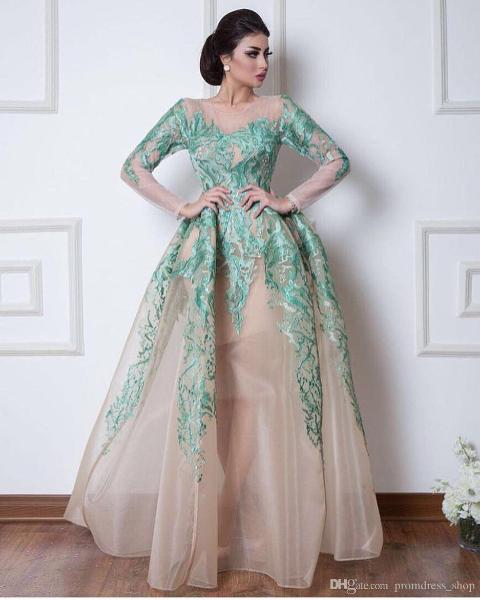1e4dc59772 2019 Vintage Arabic Dubai Evening Dresses Formal Ball Gowns Sheer Long  Sleeves Hunter Green Appliques Pageant Celebrity Gowns Prom Dress Best  Evening ...