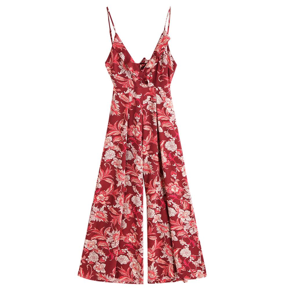 for whole family delicate colors latest trends ZAFUL Women Ruffled Wide Leg Jumpsuit Cut Out Bowknot Deep V-Neck Overalls  Spaghetti Strap Sleeveless Rompers Summer Playsuits
