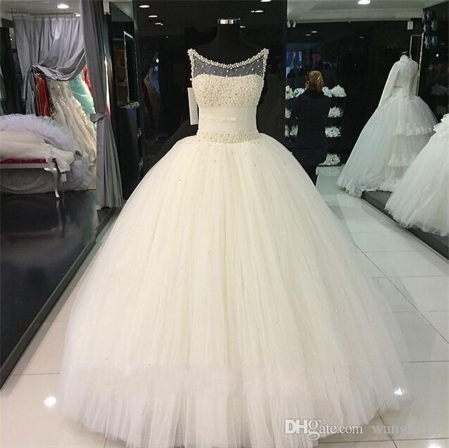 Beaded Pearls Ball Gown Wedding Dresses Real Images Sheer Neck Crystal Ivory Tulle Corset Bridal Gowns with Lace up