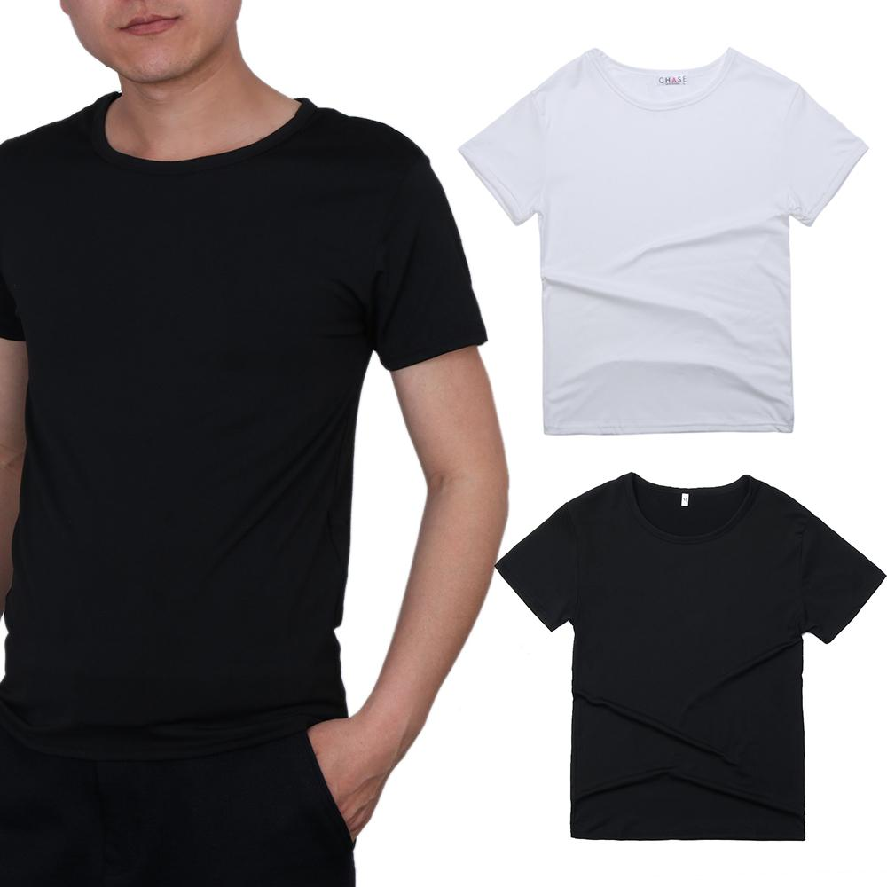 279f0d2c3bef 2018 Summer Cool Simple Men's V Neck Round Neck Cotton Fitness Slim ...