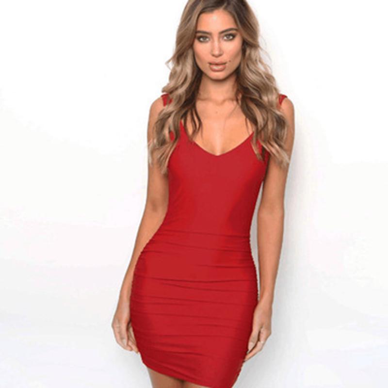 ab533368b4fec1 Femmes V Cou Sans Manches Gaine Crayon Bandage Mini Robe Sexy Dos Nu  Moulante Robe Casual Club Party Dress Vestidos